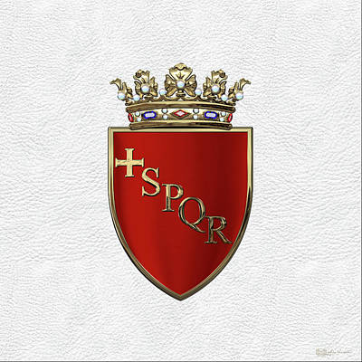Digital Art - Coat Of Arms Of Rome Over White Leather  by Serge Averbukh