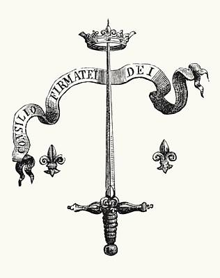 Fleur De Lis Drawing - Coat Of Arms Of The Family Of Joan Of by Vintage Design Pics