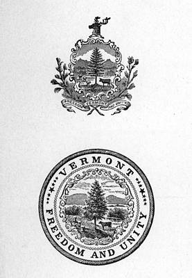 Rire Photograph - Coat Of Arms Of The State Of Vermont by Everett