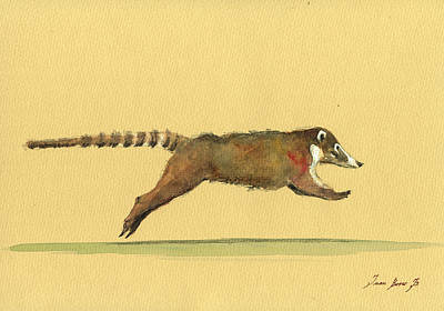 Running Painting - Coati Coatimundi Animal Drawing by Juan  Bosco