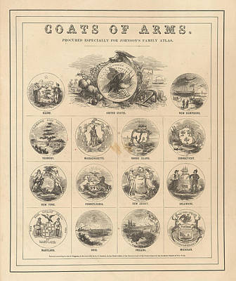 Royalty-Free and Rights-Managed Images - Coats of arms of the states of the USA - Plate 1 - Historical map by Studio Grafiikka