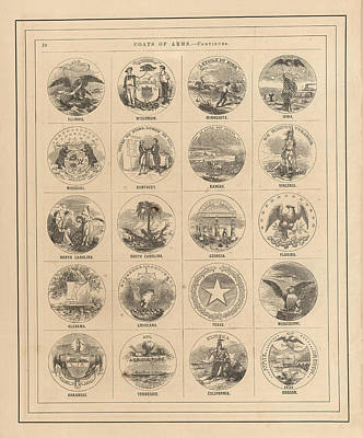 Royalty-Free and Rights-Managed Images - Coats of arms of the states of the USA - Plate 2 - Historical map by Studio Grafiikka