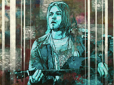 Pearl Jam Painting - Cobain - All Apologies by Bobby Zeik
