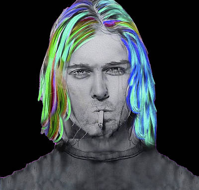 Mixed Media - Cobain,nixo, #2 by Nicholas Nixo