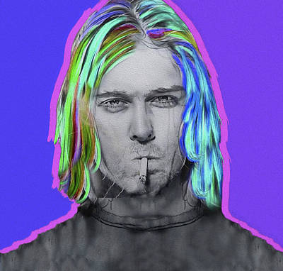 Mixed Media - Cobain,nixo by Nicholas Nixo