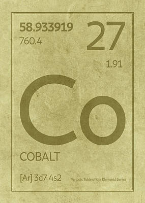 Periodic Table Wall Art - Mixed Media - Cobalt Element Symbol Periodic Table Series 027 by Design Turnpike