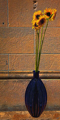 Photograph - Cobalt Glass Vase With Five Sunflowers by Chris Lord