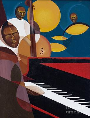 African American Art Painting - Cobalt Jazz by Kaaria Mucherera