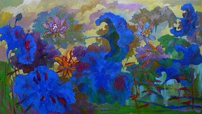 Cobalt Lotus Art Print by Tung Nguyen Hoang