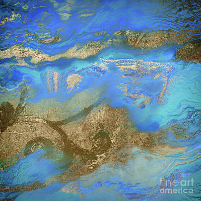 Blue And Gold Painting - Cobalt Sea by Mindy Sommers