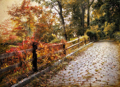 Autumn Road Photograph - Cobbestone Climb by Jessica Jenney