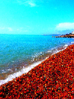 Digital Art - Cobbled Beach by Jan Steadman-Jackson