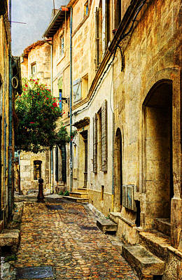 Photograph - Cobbled Street In Arles - Vintage Version by Weston Westmoreland