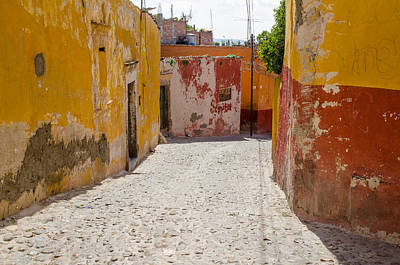 Photograph - Cobbled Street In San Miguel De Allende by Rob Huntley