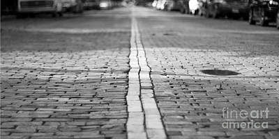 Balck Art Photograph - Cobblestone Brick Street by ELITE IMAGE photography By Chad McDermott