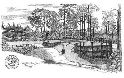 Drawing - Cobblestone Country Club - 5th Hole Tee Box by Lawrence Tripoli