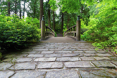 Photograph - Cobblestone Path To Wood Bridge by David Gn