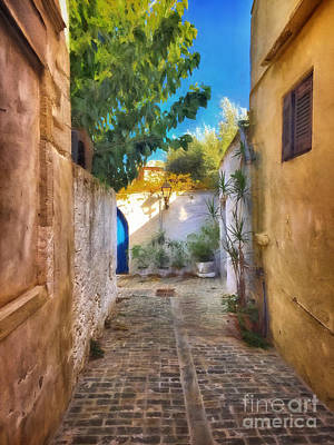 Blue Doors Photograph - Cobblestone Road In Crete by HD Connelly