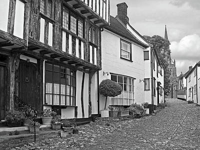 Photograph - Cobblestone Street Thaxted In Black And White by Gill Billington