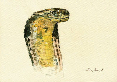 Brown Snake Painting - Cobra Snake Poster by Juan  Bosco