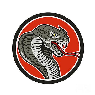 Cobra Viper Snake Circle Retro Art Print