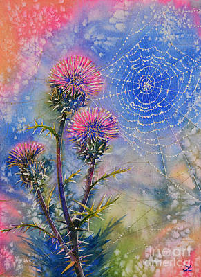 Painting - Cobweb On Artichoke Thistle by Zaira Dzhaubaeva