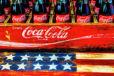 Photograph - Coca Cola And Wooden American Flag by Garry Gay