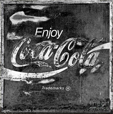 Photograph - Vintage Coca Cola Black And White Square by John Stephens