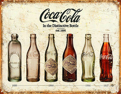 Landmarks Painting Royalty Free Images - Coca-Cola Bottle Evolution Vintage Sign Royalty-Free Image by Tony Rubino
