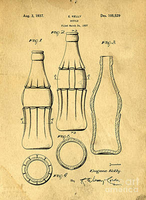 Digital Art - Coca Cola Bottle Patent Art 1937 Blueprint Drawing by Edward Fielding