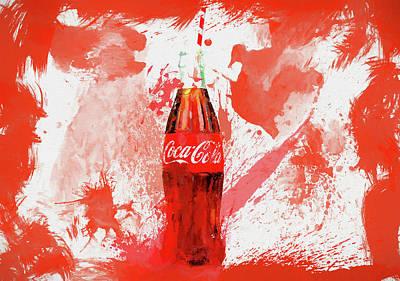 Soda Mixed Media - Coca Cola Bottle Splatter by Dan Sproul