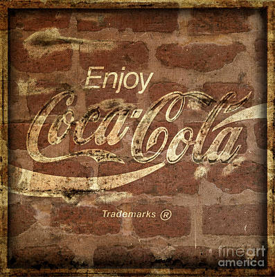 Photograph - Coca Cola Brick Wall Texture Border Frame by John Stephens