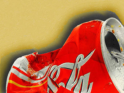 Painting - Coca-cola Can Crush Gold by Tony Rubino