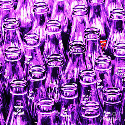 Coca-cola Coke Bottles - Return For Refund - Square - Painterly - Violet Print by Wingsdomain Art and Photography