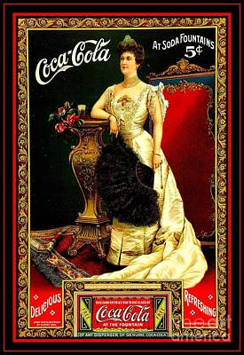 Painting - Coca Cola Edwardian Antique Soda Fountain Poster From 1904 by Peter Gumaer Ogden