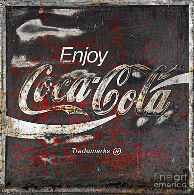 Black Photograph - Coca Cola Grunge Sign by John Stephens