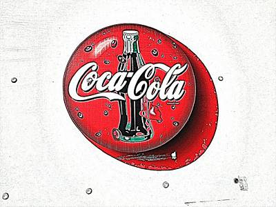 Bottling Company Photograph - Coca Cola Iconic Button Logo - Digitally Painted by Scott D Van Osdol