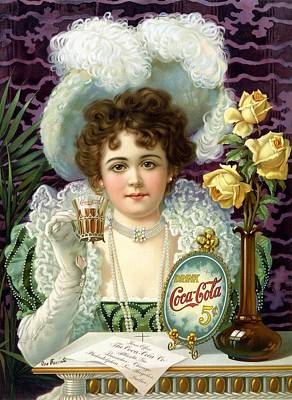 Mixed Media - Coca Cola - Little Girl - Vintage Cool Drinks Advertising Poster by Studio Grafiikka