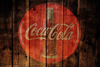 Old Barns Mixed Media - Coca Cola Old Grunge Wood by Dan Sproul