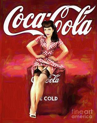 Painting - Coca Cola Pin-up by Steven Parker