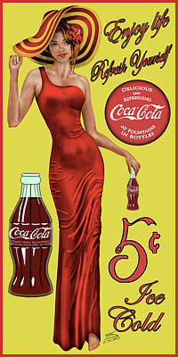 Coca Cola Red Art Print by Troy Brown