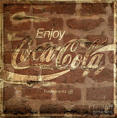 Photograph - Coca Cola Sign Brick Wall Texture by John Stephens