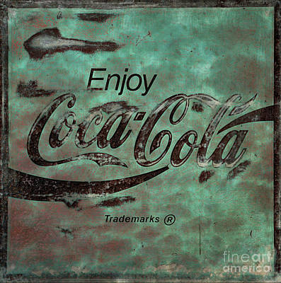 Photograph -  Coca Cola Sign Grungy Retro Style No Border by John Stephens