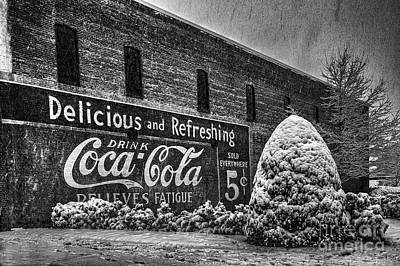 Photograph - Coca Cola Sign In Bw by T Lowry Wilson