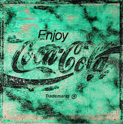 Photograph - Coca Cola Sign Mottled Dusty Light Green by John Stephens