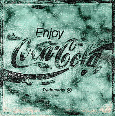 Photograph - Coca Cola Sign Mottled Dusty Medium Teal Black Accent by John Stephens