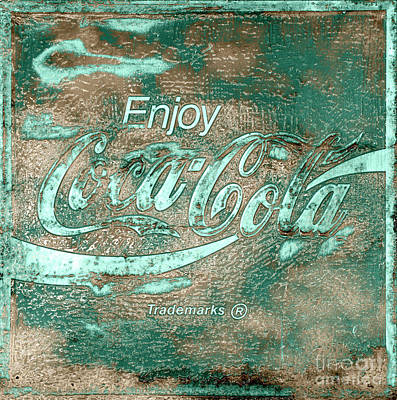 Photograph - Coca Cola Sign Mottled Dusty Teal Accent by John Stephens