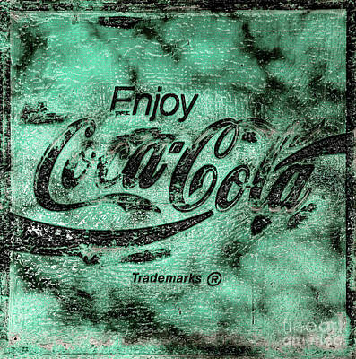 Photograph - Coca Cola Sign Mottled Dusty Teal by John Stephens