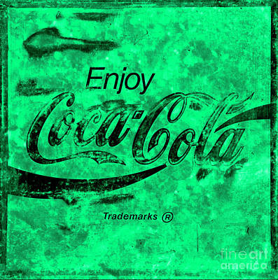 Photograph - Coca Cola Sign Mottled Green Black by John Stephens