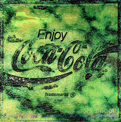 Photograph - Coca Cola Sign Mottled Green Gold by John Stephens